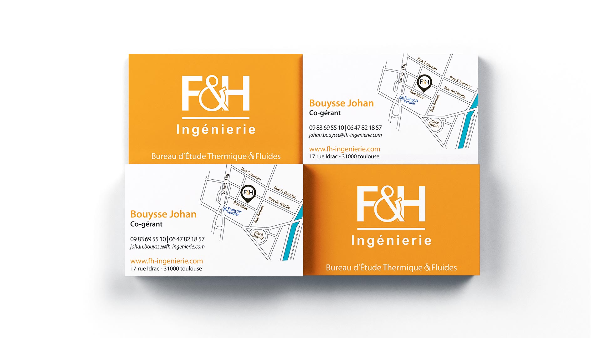 Logo Couleur FH Ingenierie Insertion Publicitaire Carte De Visite