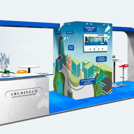 Habillage de stand Salon Saet - Archiveco - Simulation